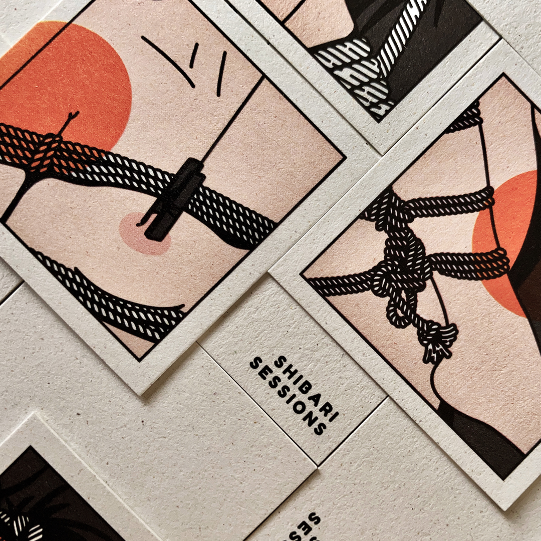 Ropes, nipples & business cards — illustrating for a shibari artist